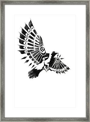 Raven Shaman Tribal Black And White Design Framed Print
