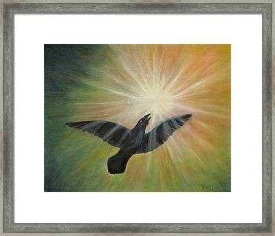 Raven Steals The Light Framed Print by Bernadette Wulf