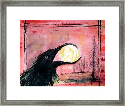 Framed Print featuring the painting Raven Steals The Sun by 'REA' Gallery