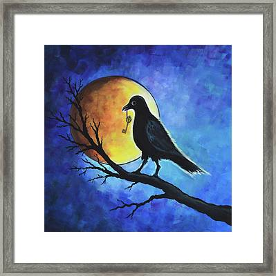 Raven With Key Framed Print