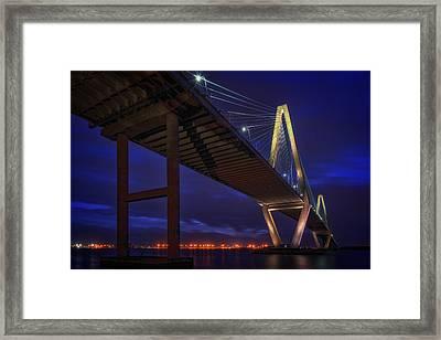 Ravenel Bridge At Dusk Framed Print by Rick Berk