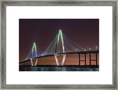 Ravenel Bridge Twilight Framed Print by Rick Berk