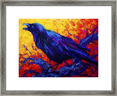 Raven's Echo Framed Print by Marion Rose