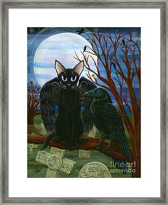 Framed Print featuring the painting Raven's Moon Black Cat Crow by Carrie Hawks