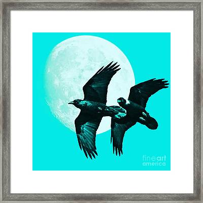 Ravens Of The Moon . Cyan Square Framed Print by Wingsdomain Art and Photography