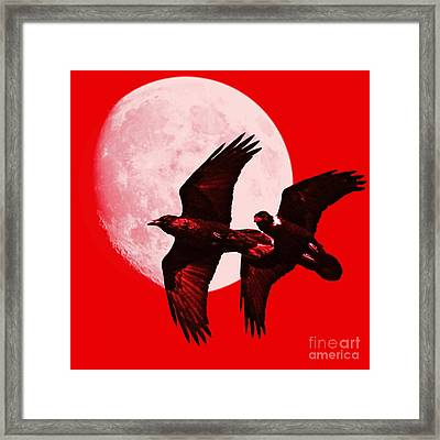Ravens Of The Moon . Red Square Framed Print
