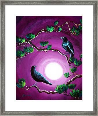 Ravens On A Summer Night Framed Print