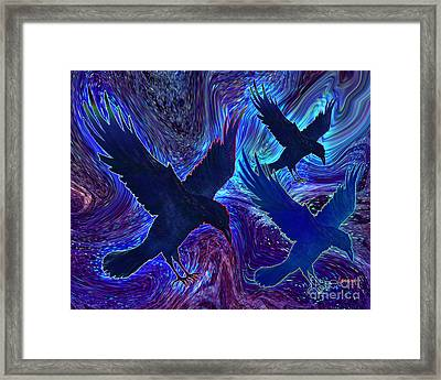 Framed Print featuring the painting Ravens On Blue by Teresa Ascone