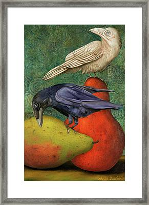 Ravens On Pears Framed Print by Leah Saulnier The Painting Maniac