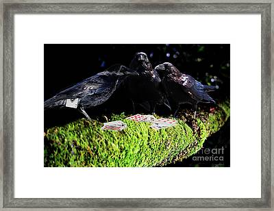 Ravens Playing Poker Framed Print by Wingsdomain Art and Photography