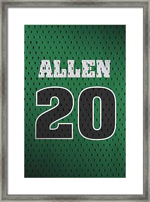 Ray Allen Boston Celtics Retro Vintage Jersey Closeup Graphic Design Framed Print