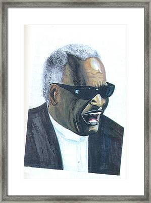 Framed Print featuring the painting Ray Charles by Emmanuel Baliyanga