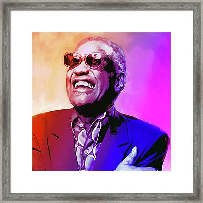 Ray Charles Framed Print by Greg Joens
