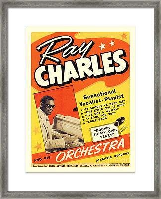 Ray Charles Rock N Roll Concert Poster 1950s Framed Print