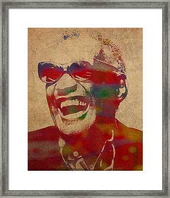 Ray Charles Watercolor Portrait On Worn Distressed Canvas Framed Print by Design Turnpike