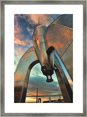 Framed Print featuring the photograph Raygun Gothic Rocketship Blast-off by Steve Siri