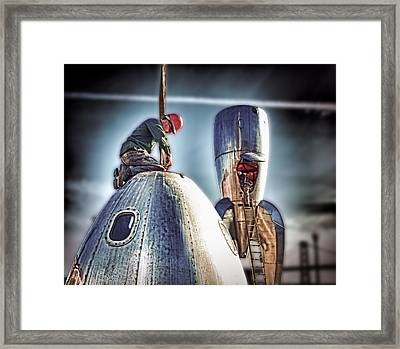 Framed Print featuring the photograph Raygun Gothic Rocketship Safe Landing by Steve Siri