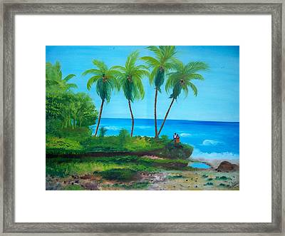 Framed Print featuring the painting Raymond Les Bains Beach Jacmel Haiti  2 by Nicole Jean-Louis