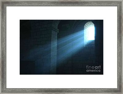 Rays Of Sunlight Shining Through Window Framed Print by Gerard Lacz