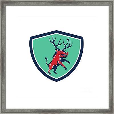 Razorback Antlers Prancing Crest Retro Framed Print