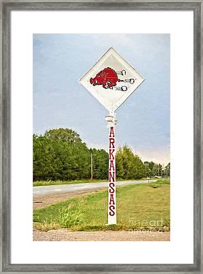 Razorback Sign Framed Print by Scott Pellegrin