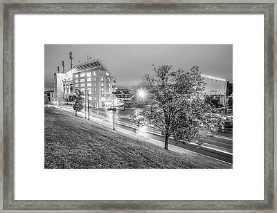 Razorback Stadium In Black And White - Fayetteville Arkansas Framed Print by Gregory Ballos