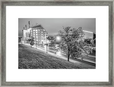 Razorback Stadium In Black And White - Fayetteville Arkansas Framed Print
