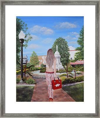 Razorback Swagger At Bentonville Square Framed Print by Belinda Nagy