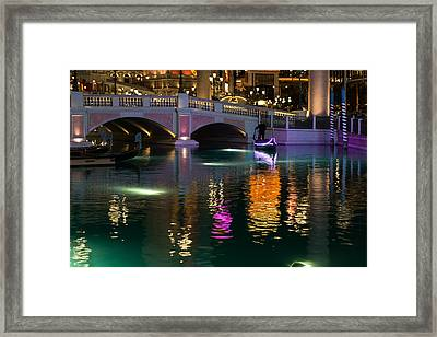 Razzle Dazzle - Colorful Neon Lights Up Canals And Gondolas At The Venetian Las Vegas Framed Print