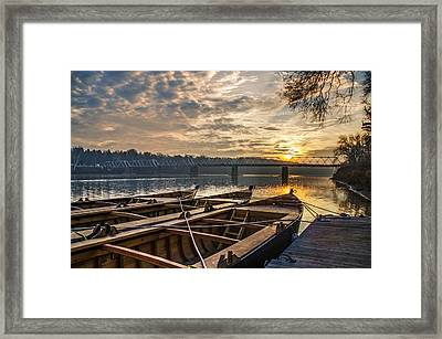 Re-enactment Boats At Washingtons Crossing At Sunrise Framed Print by Bill Cannon