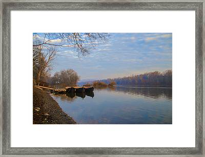 Re-enactment Boats At Washingtons Crossing  Framed Print by Bill Cannon