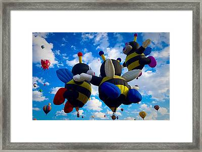 Hot Air Balloon Cheerleaders Framed Print
