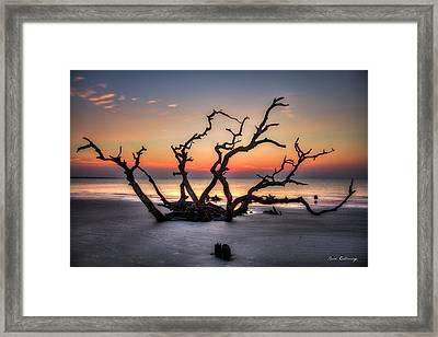 Reaching Driftwood Beach Sunrise Jekyll Island Georgia Art Framed Print