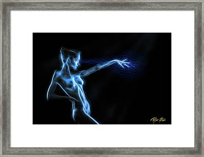 Framed Print featuring the photograph Reaching Figure Darkness by Rikk Flohr