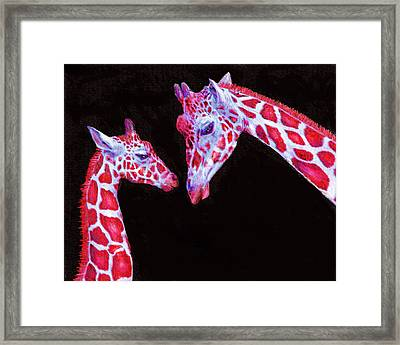 Framed Print featuring the digital art Read And Black Giraffes by Jane Schnetlage