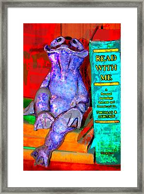 Read With Me Frog Framed Print by Danielle Stephenson