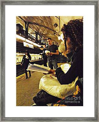 Readers On The A Train Platform Framed Print by Sarah Loft