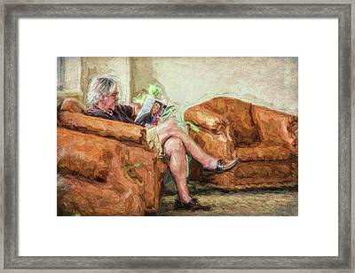 Framed Print featuring the photograph Reading At The Library by Lewis Mann