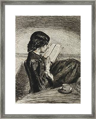 Reading By Lamplight Framed Print by James Abbott McNeill Whistler