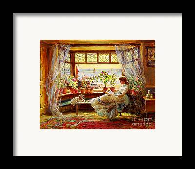 Reading By Window Framed Prints
