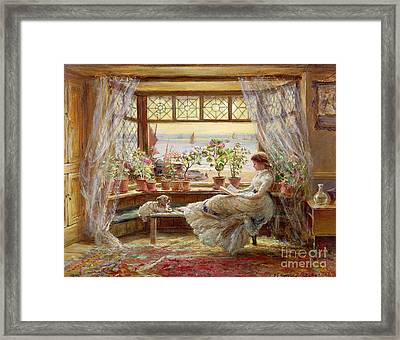 Reading By The Window Framed Print by Charles James Lewis