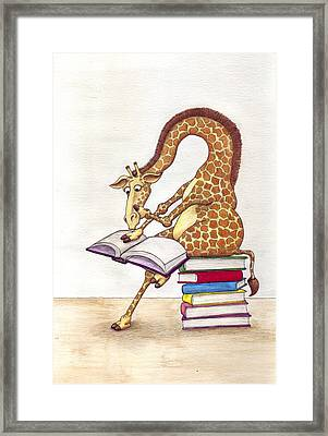 Reading Giraffe Framed Print by Julia Collard