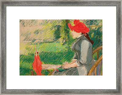Reading In The Garden Framed Print by Eva Gonzales
