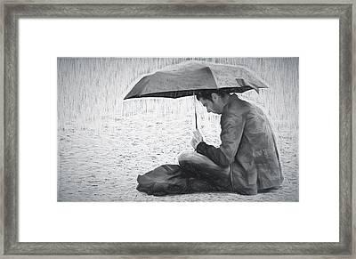 Reading In The Rain - Umbrella Framed Print by Nikolyn McDonald