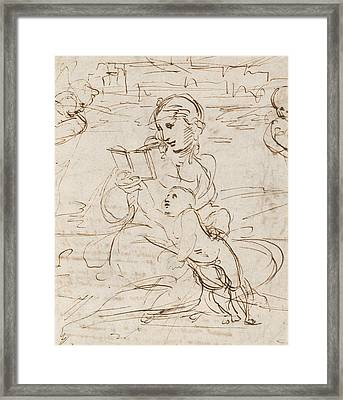 Reading Madonna And Child In A Landscape Betweem Two Cherub Heads Framed Print by Raphael