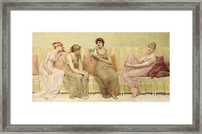 Reading The Story Of Oenone Framed Print by Francis Davis Millet