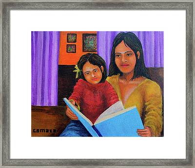 Reading With Mom Framed Print by Cyril Maza