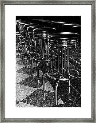 Ready For Business - Stools Along The Counter Framed Print by Mitch Spence