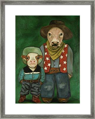 Real Cowboys 3 Framed Print by Leah Saulnier The Painting Maniac