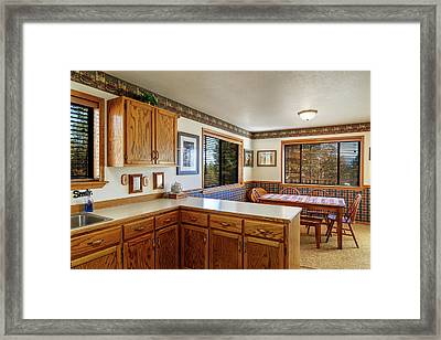 Framed Print featuring the photograph Real Estate Kitchen And Dining Room by James Eddy